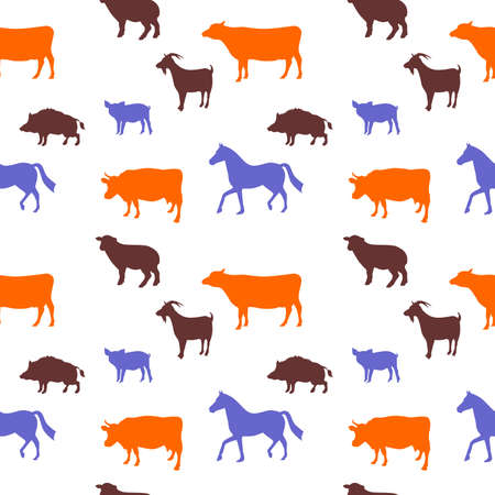 domestic animals: illustration dedicated to domestic animals - cow, horse, bull, goat, sheep, pig, boar.