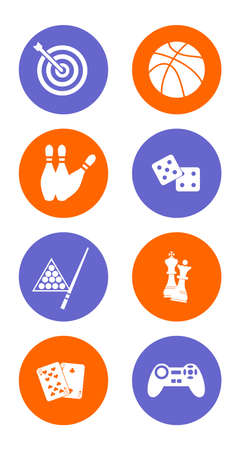 computer games: illustration dedicated to games - playing cards, bowling, billiards, darts, football, chess, computer games. Illustration