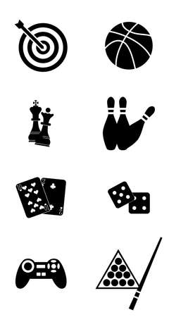 computer games: illustration dedicated to games - playing cards, billiards, darts, football, chess, computer games.