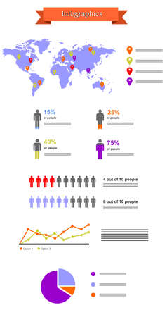 demographics: Illustration in the style of infographics with a map of the world, schedules and people.