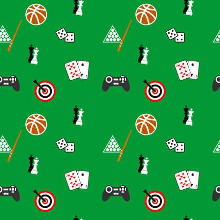 substrate: ilustraci�n dedicada a juegos - cartas, billar, dardos, f�tbol, ??ajedrez, juegos de ordenador. Vectores
