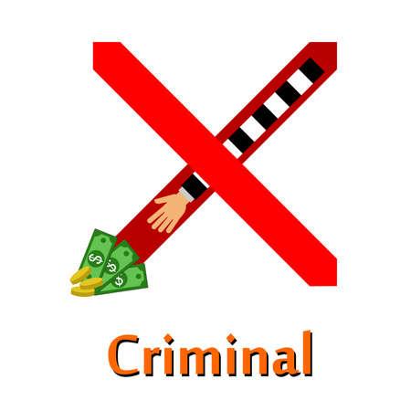 bestechung: Abbildung auf dem Thema einer Straftat - Diebstahl.