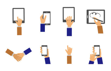 them: icon set with gadgets and hands that keeps them.