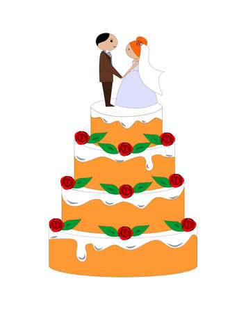 illustration dedicated to the wedding and the wedding cake. Vectores