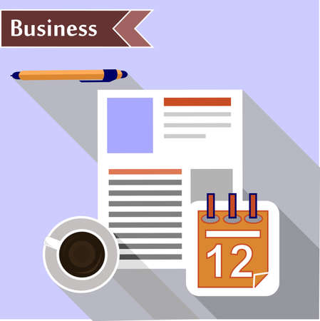 summaries: composition with objects for business man - stationery and cup of coffee. Illustration
