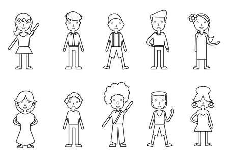 mannen en vrouwen: set of illustrations of people - men, women and teens. Stock Illustratie