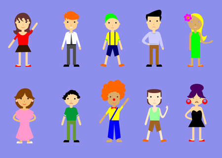 demography: set of illustrations of people - men, women and teens. Illustration
