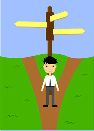 two roads: the illustration with two forked roads and sign.