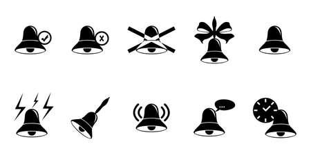 with sets of elements: illustration of a set of different variants of bells. Illustration