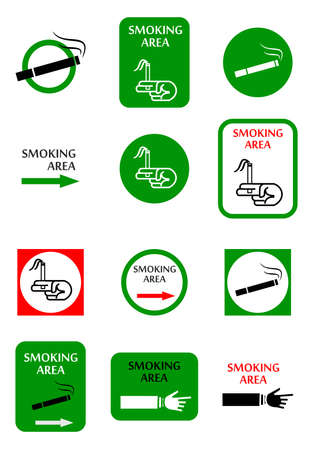 smoking place: illustration with a set of pointers to the place of smoking. Illustration