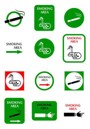 pernicious: ilustraci�n con un conjunto de indicadores para el lugar de fumar.