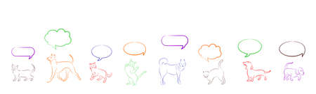 them: Illustration with different pets and thought clouds over them.