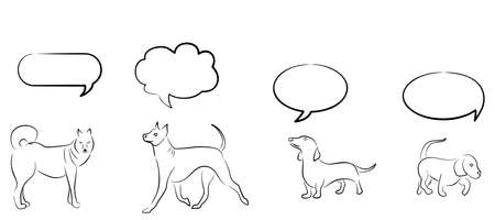 contemplate: Illustration with different dogs and thought clouds over them. Illustration