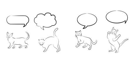them: Illustration with different cats and thought clouds over them.