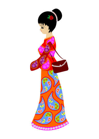 national costume: Illustration with the image of a beautiful Chinese girl in national costume.