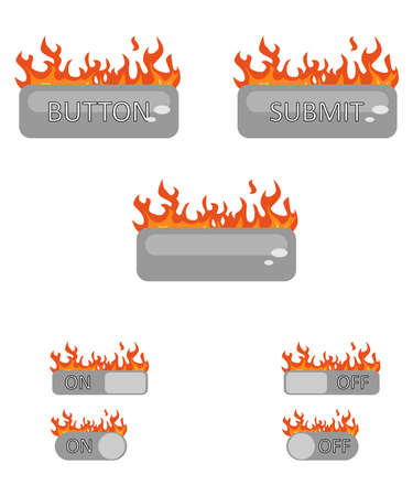 set design: Illustration with a set of elements of interfaces decorated with fire. Illustration
