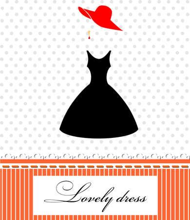 black dress: the illustration of a beautiful and elegant black dress and hat. Illustration
