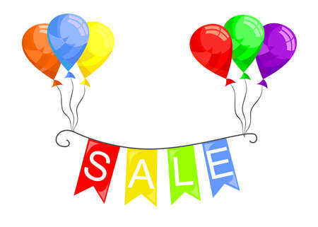 markdown: Illustration on the theme of sale, decorated with flags and balloons.