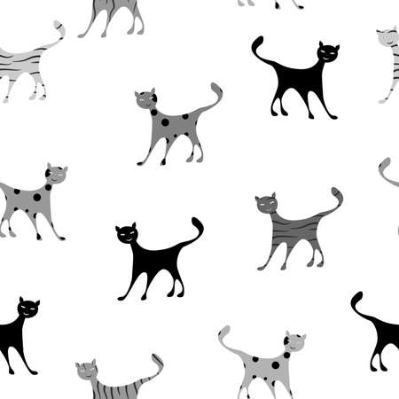 substrate: the seamless pattern with comic and funny cats.
