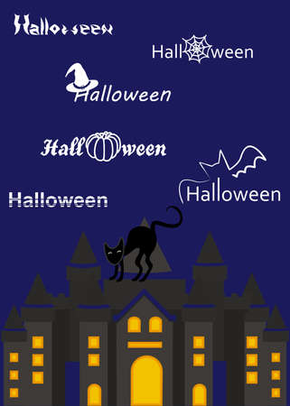 october 31: illustration on the theme of Halloween with a black cat