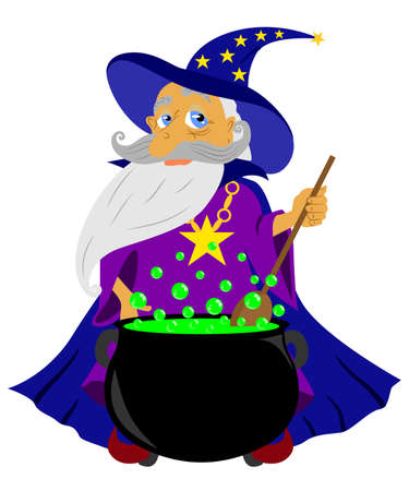 decoction: illustration on the theme of magic and witchcraft, the old magician prepares a potion.
