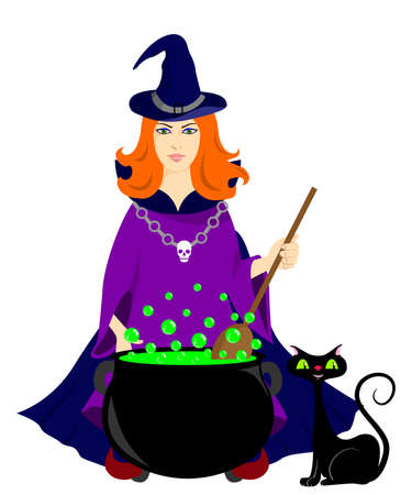 decoction: illustration on the theme of magic and witchcraft, the red-haired witch prepares a potion. Illustration