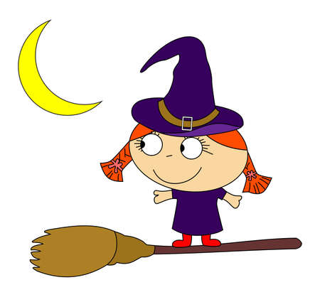 decoction: illustration on the theme of magic and witchcraft, the red-haired witch with broom. Illustration