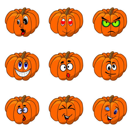 october 31: illustration on the theme of Halloween with funny pumpkins.