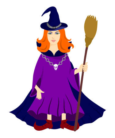 witchcraft: illustration on the theme of magic and witchcraft, the red-haired witch with broom. Illustration