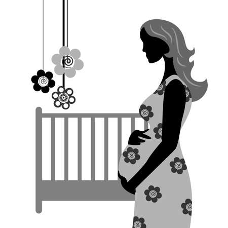 pregnant black woman: illustration of a beautiful pregnant woman in black.