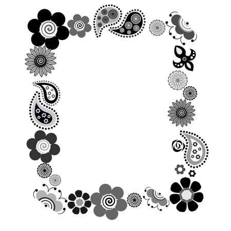 nature silhouette: the Illustration dedicated to the beautiful flower ornament . Illustration