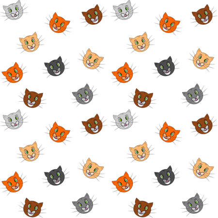 substrate: illustration of funny and cheerful cats in the childrens style as a seamless background. Vectores