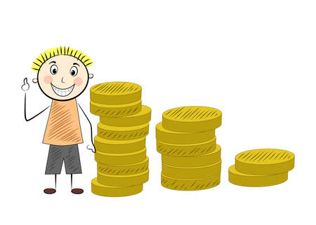fortunate: Illustration in the style of comics with a happy man and money. Illustration
