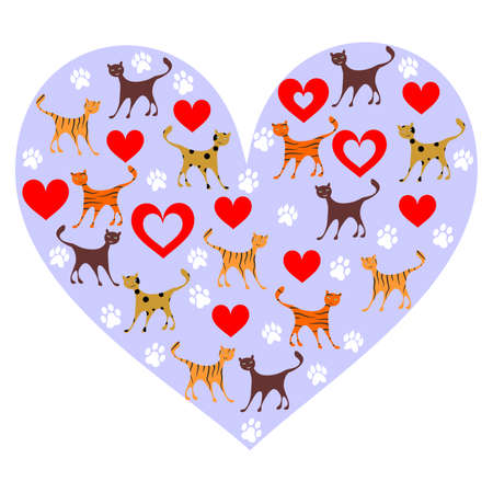 pet cat: illustration of a cute cats in a stylized heart shape.