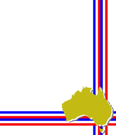 melbourne australia: Template, decorated with colors of the flag and the map of Australia. Vettoriali