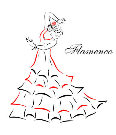 spanish girl: illustration of a beautiful Spanish girl who dances flamenco.