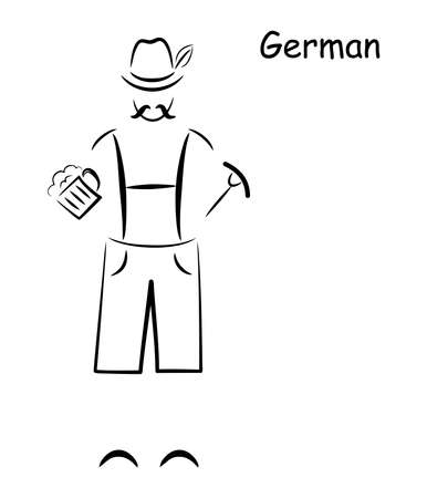 german ethnicity: illustration of a silhouette of a man in traditional German costume.