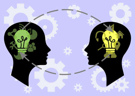 smart woman: illustration on the theme of intellectual exchange of ideas between people. Illustration