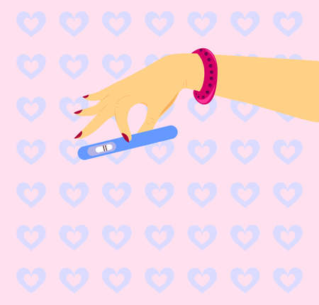 illustration with a hand of a woman who keeps a pregnancy test.