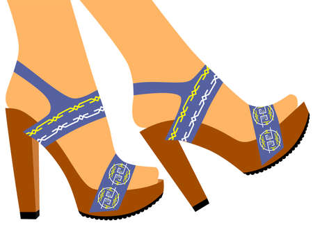 sandals: illustration on the theme of fashion with beautiful sandals.