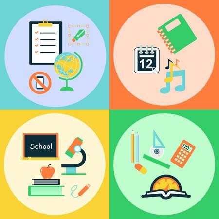 calendario escolar: Ilustraci�n en el estilo de un dise�o plano sobre el tema de la escuela y �tiles escolares.