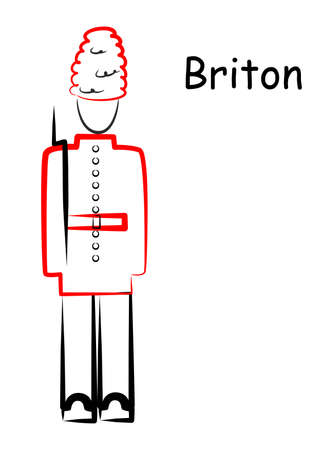 british army: illustration of a silhouette of a man in traditional British costume.