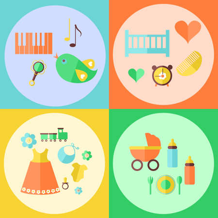 bimbo: Icons in the style of a flat design devoted to children and toys.