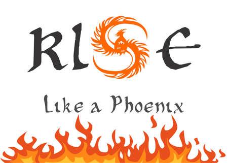 rebirth: a beautiful illustration with a fiery bird - the phoenix.