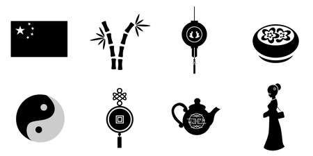 lotus lantern: the set of icons with different chinese elements. Illustration