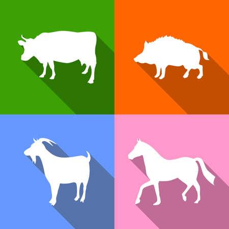 domestic animals: illustration dedicated to domestic animals - cow, boar, horse and goat. Illustration