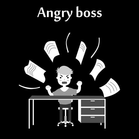 irate: illustration of an evil employee in the office, which is throwing paper.
