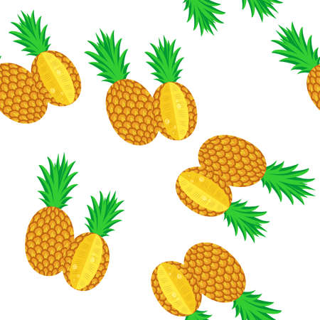 juicy: seamless background with juicy and tasty fruits -  pineapples.