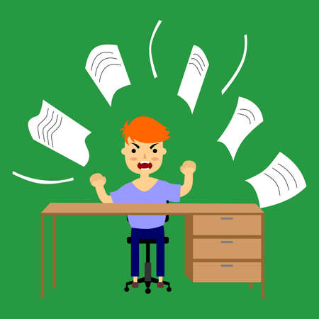 throwing paper: illustration of an evil employee in the office, which is throwing paper.