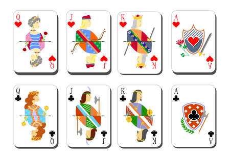beautiful and original set of designer playing cards. Illustration